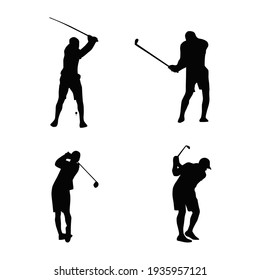 golf athlete silhouettes collection vector illustration