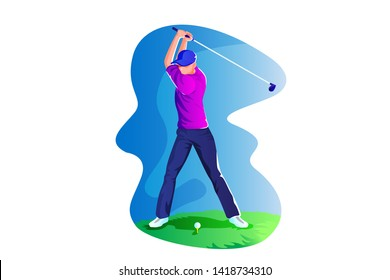 Golf Athlete Vector Concept Illustration, Suitable for web landing page, ui, mobile app, editorial design, flyer, banner, and other related occasion