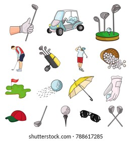 Golf and attributes cartoon icons in set collection for design.Golf Club and equipment vector symbol stock web illustration.