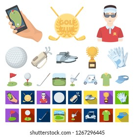 Golf and attributes cartoon,flat icons in set collection for design.Golf Club and equipment vector symbol stock web illustration.