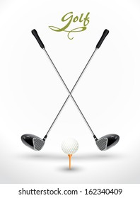 Golf background - game time. Two crossed golf clubs, ball