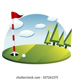 Golf background with green flag pole and ball