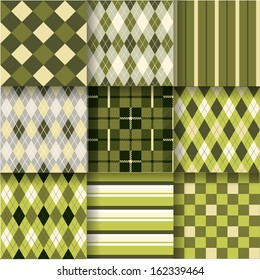 Golf backgrounds. Seamless pattern background with green, yellow and grey colors. Vector illustration. Pattern Swatches made with Global Colors - quick, simple editing of color