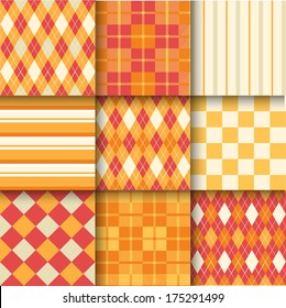 Golf backgrounds. Seamless pattern background with orange, red and yellow color. Vector illustration. Pattern Swatches made with Global Colors - quick, simple editing of color