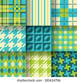 Golf backgrounds. Seamless pattern background with green & blue colors. Pattern Swatches made with Global Colors - quick, simple editing of color. EPS-10. Vector illustration_1