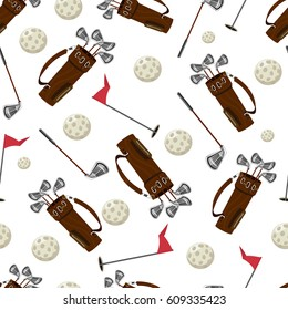 Golf bag, ball, stick and flag vector seamless pattern on a white background for wallpaper, wrapping, packing, and backdrop.