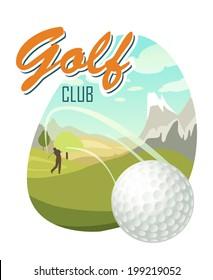 Golf Ball And A Beautiful landscape. Golf Club