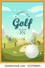 Golf Ball And A Beautiful landscape. Golf Club. Vintage poster with player. Logo