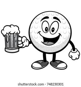 Golf Ball with Beer Illustration