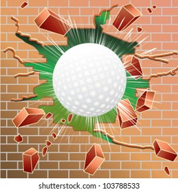 Golf ball breaking through red brick wall