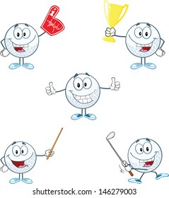 Golf Ball Cartoon Character With Five Different Poses. Vector Collection
