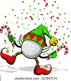 A golf ball celebrating Christmas by dancing with candy canes, elf ears, hat and ears, and confetti.