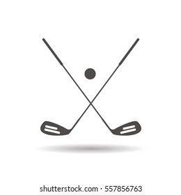 Golf ball and clubs icon. Drop shadow silhouette symbol. Golf equipment. Negative space. Vector isolated illustration