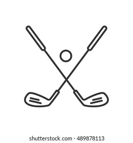 Golf ball and clubs linear icon. Thin line illustration. Golf equipment contour symbol. Vector isolated outline drawing