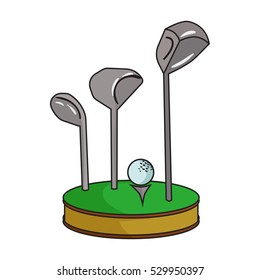 Golf ball and clubs on grass icon in cartoon style isolated on white background. Golf club symbol stock vector illustration.