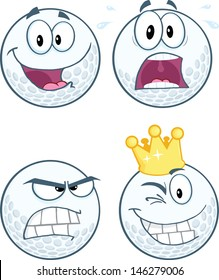 Golf Ball Different Expression Cartoon Character. Vector Collection