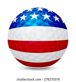 Golf ball with flag of USA, isolated on white background. Vector EPS10 illustration.