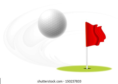 Golf ball is flying in the air. Vector illustration