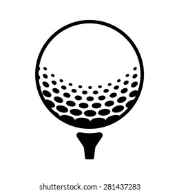 Golf ball / golfball on a tee line art vector icon for sports apps and websites