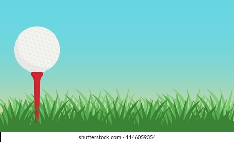 Golf ball and grass vector. free space for text. wallpaper. background.