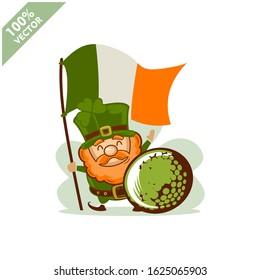 Golf ball happy Saint Patrick's Day theme. Cartoon character with green hat illustration vector logo.
