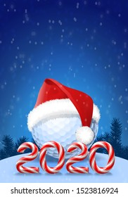 Golf ball in hat with candy cane