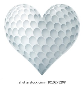 A golf ball in a heart shape. Concept for passion or love of the sport.