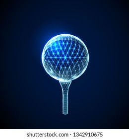 Golf ball.  Low poly style design. Abstract geometric background. Wireframe light connection structure. Low polygonal design. Modern 3d graphic concept. Isolated vector illustration.