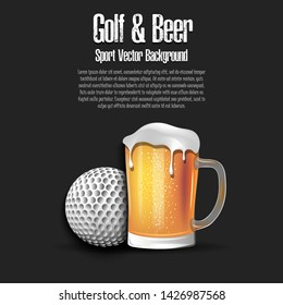 Golf ball with mug of beer. Pattern for banner, poster, greeting card, party invitation, signboard, menu pub. Vector illustration