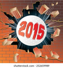 Golf ball with new year 2015 breaking through brick wall