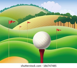 Golf ball on the background of green hills. Editable vector illustration.