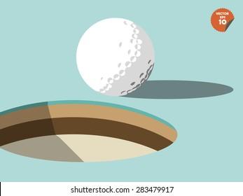 golf ball on edge of hole design, golf design