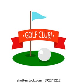 Golf ball on a glade with a flag. Logo Golf Club. Flat vector illustration isolate on a white background. Icon Golf Club