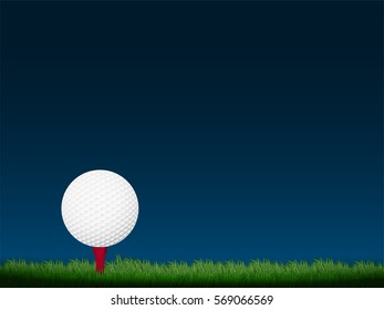 golf ball on grass field with clear sky background in vector illustration. Design for sport template