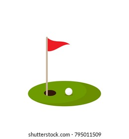 golf ball on green grass and hole with red flag. Isolated on white background. Flat vector illustration. Sport concept. Goal achievement sign.