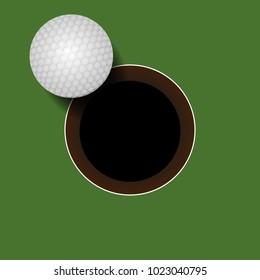 golf ball on golf hole