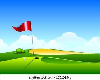 Golf ball on lip near bunker of lovely beautiful golf course with flag. EPS 10.