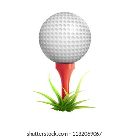 Golf ball on red tee and grass