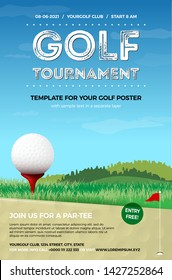 Golf ball on red tee, green grass and blue sky with clouds - template for your golf poster. Vector illustration.