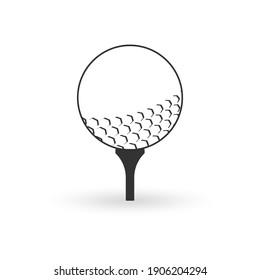 Golf ball on tee. Golfball icon. Vector illustration.