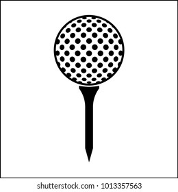 Golf Ball On Tee Icon Vector Art Illustration
