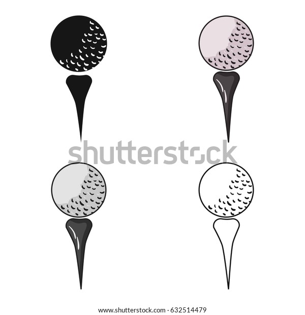 Golf ball on tee icon in cartoon style isolated on white background. Golf club symbol stock vector illustration.