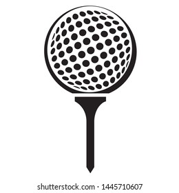 Golf Ball on Tee Vector Graphic Illustration Icon