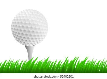Golf ball on tee on white background and green grass