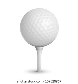 Golf ball on white tee realistic vector illustration isolated