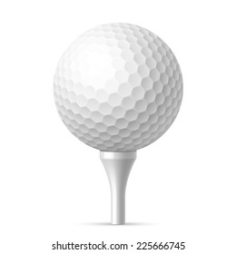 Golf ball on white tee. Vector illustration.
