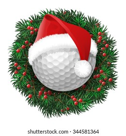 Golf ball over evergreen holiday wreath decorated with red berries. Funny face in eyeglasses. Vector isolated illustration
