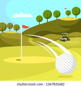 Golf Ball Passing by Hole on Countryside Course with Flags. Professional Playing Field for Competitions and Tournaments with all Attributes and Equipment. Golf Cart on Grass. Flat Vector Illustration.