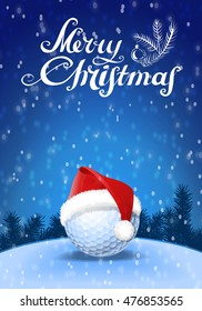 Golf ball and santa red hat on snow with blue background and snowflakes and greeting text. Colorful vector illustration
