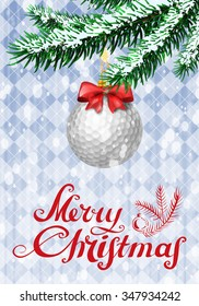 Golf ball in shape of christmas bauble on christmas tree with snow on evergreen branches. Vector illustration on blue background with argyle pattern